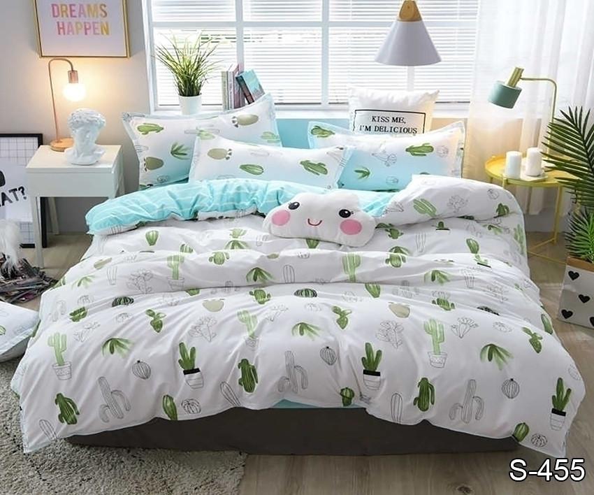 Полуторный комплект постельного белья сатин люкс с компаньоном S455