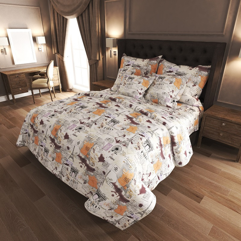 Двоспальний Євро комплект постільної білизни Gold Lux