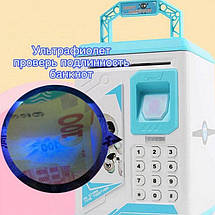 Детский сейф копилка Robot Bodyguard №.906 с отпечатком пальца, кодовым замком и купюроприемником Синий, фото 2