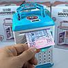 Детский сейф копилка Robot Bodyguard №.906 с отпечатком пальца, кодовым замком и купюроприемником Синий (R466), фото 4