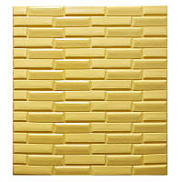 Самоклеющаяся декоративная 3D панель желтая кладка 770х700х7 мм, фото 1