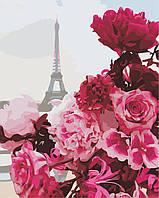 """Картина по номерам """"Букет розовых цветов в Париже"""" 40*50 см в коробке, ArtStory + акриловый лак, фото 1"""