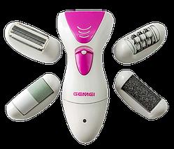 Эпилятор Gemei GM 7006 4в1 - Профеcсиональный женский беспроводной эпилятор бритва с насадками триммер + пемза, фото 2