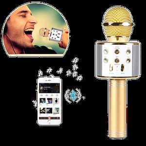 Мікрофон караоке Wester WS-858 - бездротової Bluetooth мікрофон для караоке з плеєром Золотий
