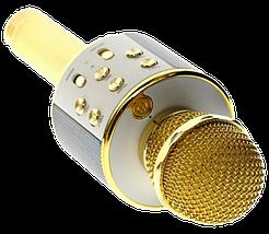 Микрофон караоке Wester WS-858 - беспроводной Bluetooth микрофон для караоке с плеером Золотой, фото 3