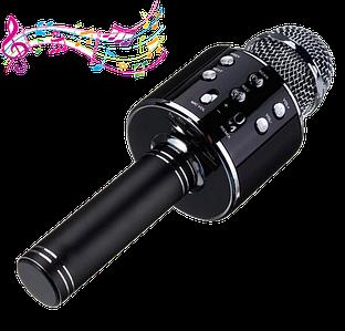 Мікрофон караоке Wester WS-858 - бездротової Bluetooth мікрофон для караоке з плеєром Чорний
