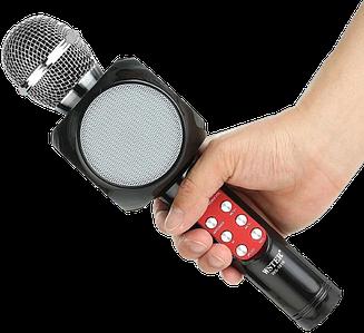 Мікрофон караоке WSTER WS-1816 - бездротової Bluetooth мікрофон з світломузикою слотом USB, FM тюнером Чорний