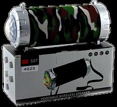 Портативна колонка JBL S07 - мобільна bluetooth колонка зі світломузикою, FM радіо, MP3 плеєр (Хакі), фото 3