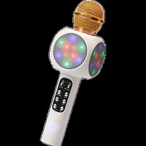 Мікрофон караоке WSTER WS-1816 - бездротової Bluetooth мікрофон з світломузикою, слотом USB, FM тюнером Білий