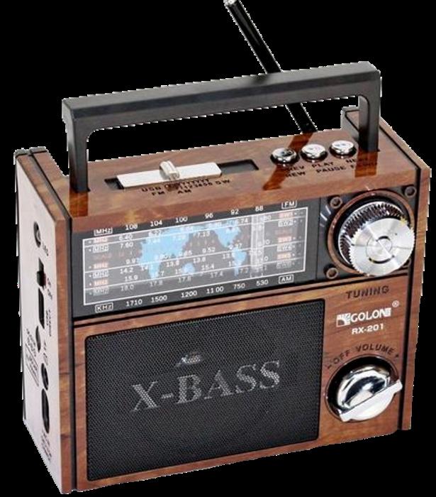 Радіоприймач GOLON RX-201 - портативний радіоприймач колонка MP3 з USB, акумулятором і Led-ліхтариком