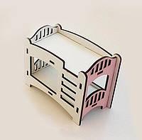 Игрушечная двухъярусная кровать NestWood для кукол Белый сроховым kml006, КОД: 1198227