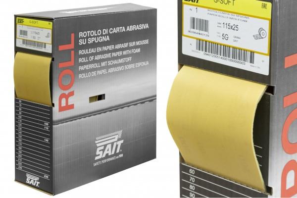 Шлифовальная бумага на поролоне SAIT 5G P180 (ширина 115 мм х 25 м)