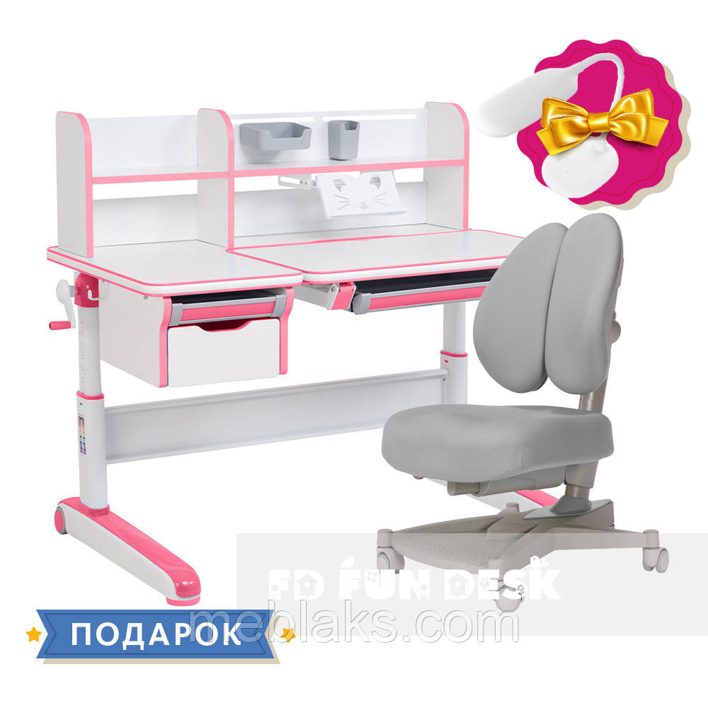 Растущий комплект стол-трансформер FunDesk Libro Pink + ортопедическое кресло FunDesk Contento Grey