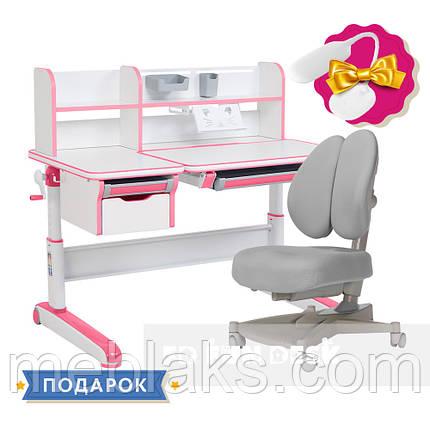 Растущий комплект стол-трансформер FunDesk Libro Pink + ортопедическое кресло FunDesk Contento Grey, фото 2