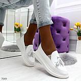 Ультра модные женские белые мокасины из натуральной кожи, фото 6