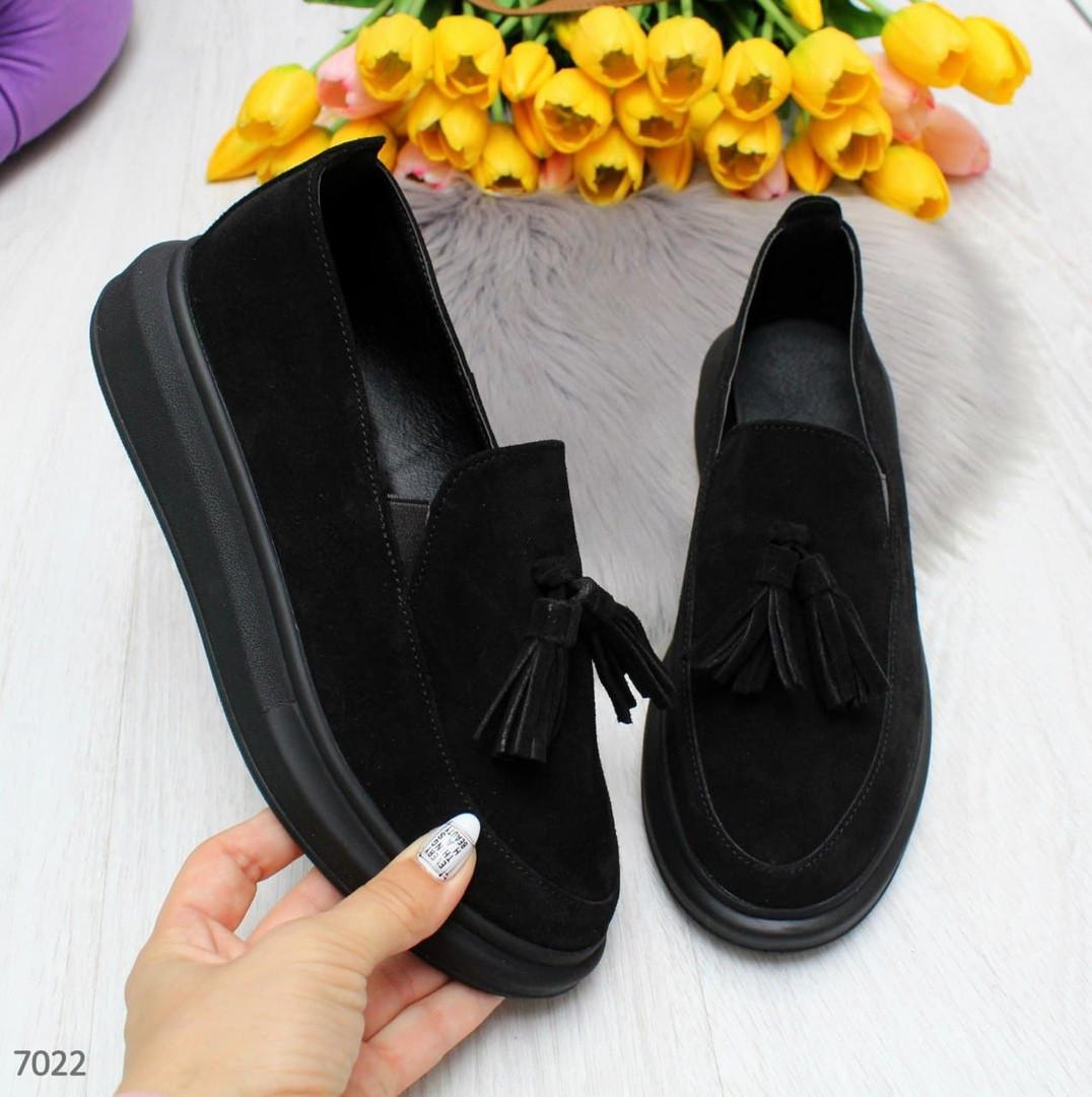 Ультра модные черные женские мокасины из натуральной замши