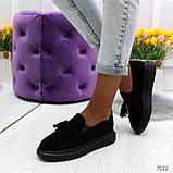 Ультра модные черные женские мокасины из натуральной замши, фото 2