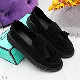 Ультра модные черные женские мокасины из натуральной замши, фото 3