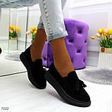 Ультра модные черные женские мокасины из натуральной замши, фото 4