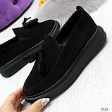 Ультра модные черные женские мокасины из натуральной замши, фото 6