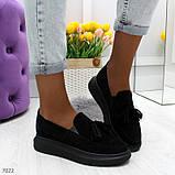 Ультра модные черные женские мокасины из натуральной замши, фото 7