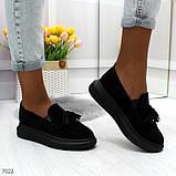 Ультра модные черные женские мокасины из натуральной замши, фото 8