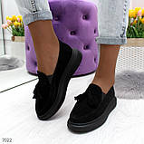Ультра модные черные женские мокасины из натуральной замши, фото 9