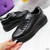 Удобные повседневные черные женские кроссовки из натуральной кожи, фото 5