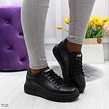 Удобные повседневные черные женские кроссовки из натуральной кожи, фото 7