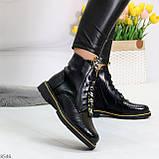 Модные черные женские ботинки с animal тиснением низкий ход, фото 2