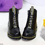 Модные черные женские ботинки с animal тиснением низкий ход, фото 3