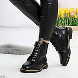 Модные черные женские ботинки с animal тиснением низкий ход, фото 4