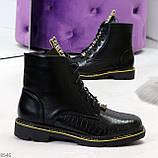 Модные черные женские ботинки с animal тиснением низкий ход, фото 5