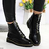 Модные черные женские ботинки с animal тиснением низкий ход, фото 6