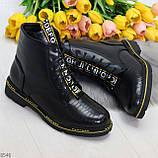 Модные черные женские ботинки с animal тиснением низкий ход, фото 10