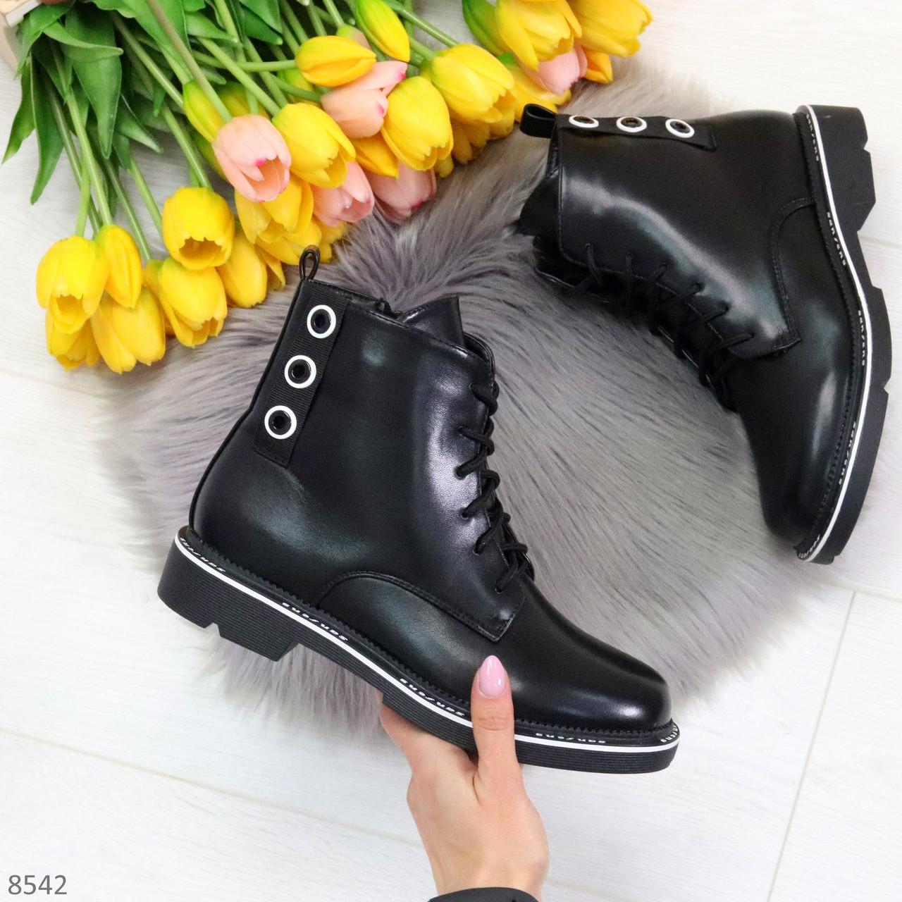 Модельные удобные черные женские ботинки на флисе низкий ход