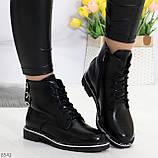 Модельные удобные черные женские ботинки на флисе низкий ход, фото 2