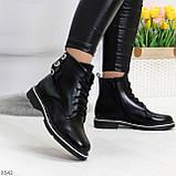 Модельные удобные черные женские ботинки на флисе низкий ход, фото 3