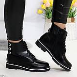 Модельные удобные черные женские ботинки на флисе низкий ход, фото 5