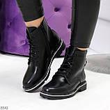 Модельные удобные черные женские ботинки на флисе низкий ход, фото 7