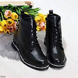Модельные удобные черные женские ботинки на флисе низкий ход, фото 8