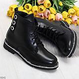 Модельные удобные черные женские ботинки на флисе низкий ход, фото 9