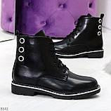 Модельные удобные черные женские ботинки на флисе низкий ход, фото 10