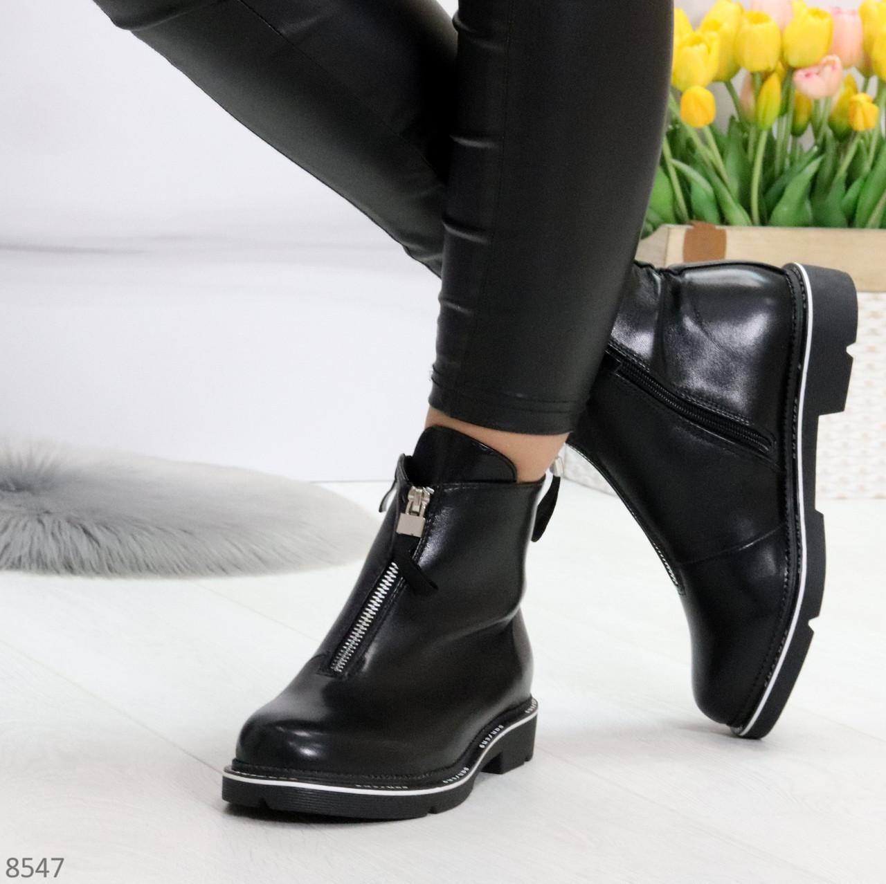 Стильные удобные черные молодежные женские ботинки на флисе