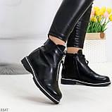 Стильные удобные черные молодежные женские ботинки на флисе, фото 2