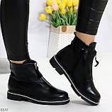 Стильные удобные черные молодежные женские ботинки на флисе, фото 3