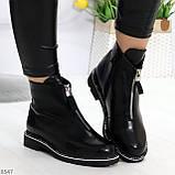 Стильные удобные черные молодежные женские ботинки на флисе, фото 4