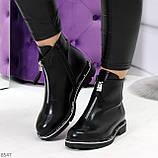 Стильные удобные черные молодежные женские ботинки на флисе, фото 5