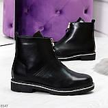 Стильные удобные черные молодежные женские ботинки на флисе, фото 8