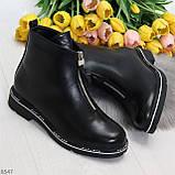 Стильные удобные черные молодежные женские ботинки на флисе, фото 10